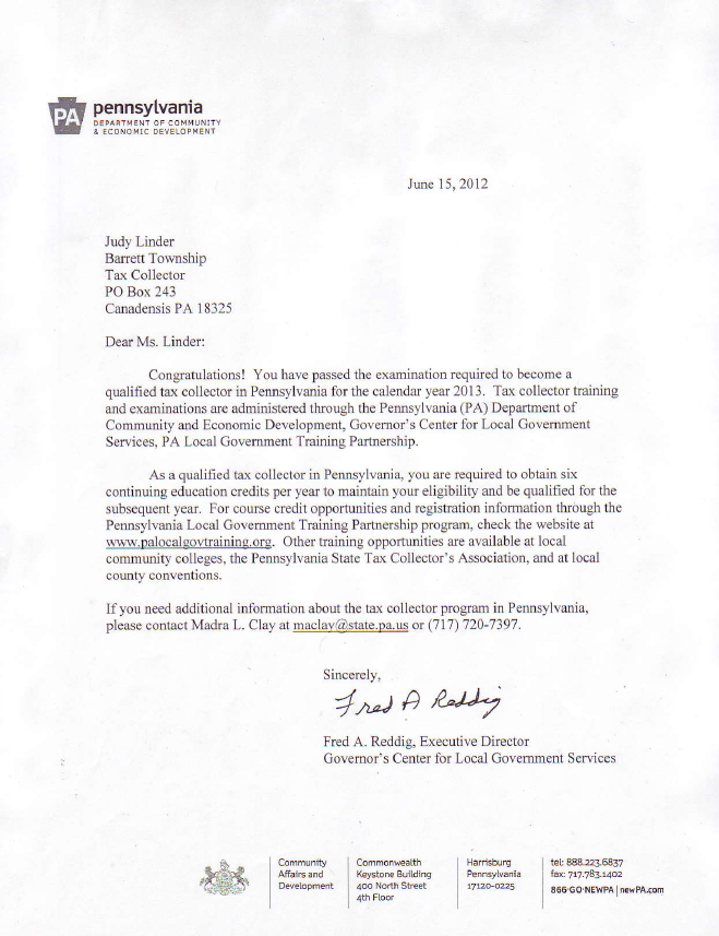 qualified tax collector letter judith linder barrett township tax